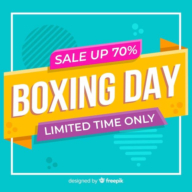 Venta plana del día del boxeo con efecto memphis vector gratuito