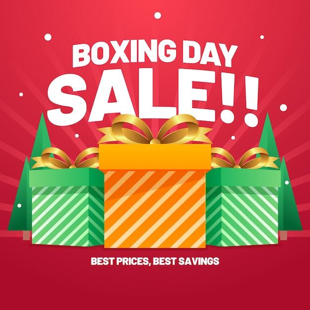Venta plana del día de boxeo mejor ahorro vector gratuito