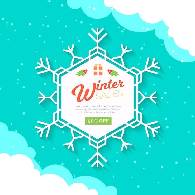 Venta plana de invierno con copo de nieve blanca vector gratuito