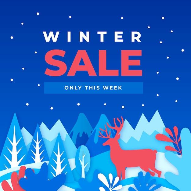 Venta plana de invierno con renos en la noche vector gratuito