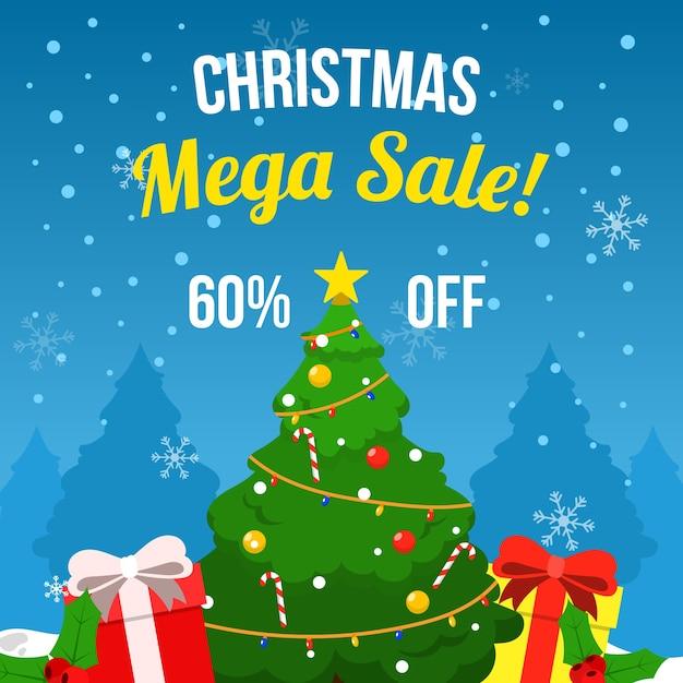 Venta plana de navidad con árbol de navidad y regalos vector gratuito