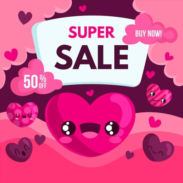 Venta plana de san valentín con corazones de dibujos animados vector gratuito