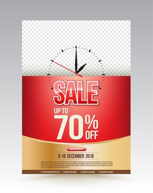 Venta de plantilla de diseño de cartel hasta el 70 por ciento. Vector Premium
