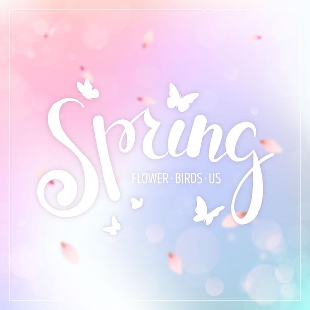 Venta de primavera borrosa con colores degradados y mariposas Vector Premium