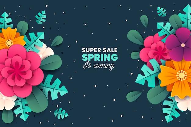 Venta de primavera colorida en estilo de papel vector gratuito