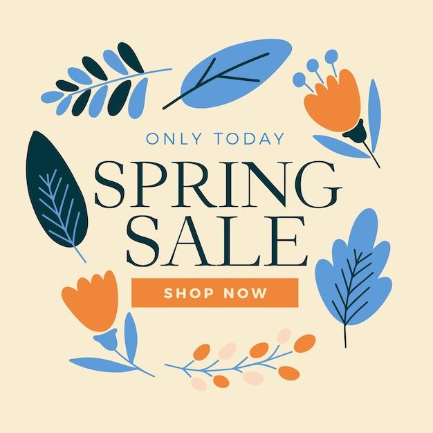 Venta de primavera en diseño plano vector gratuito
