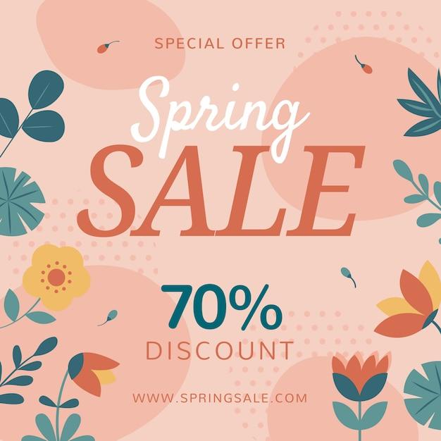Venta de primavera promocional de diseño plano vector gratuito