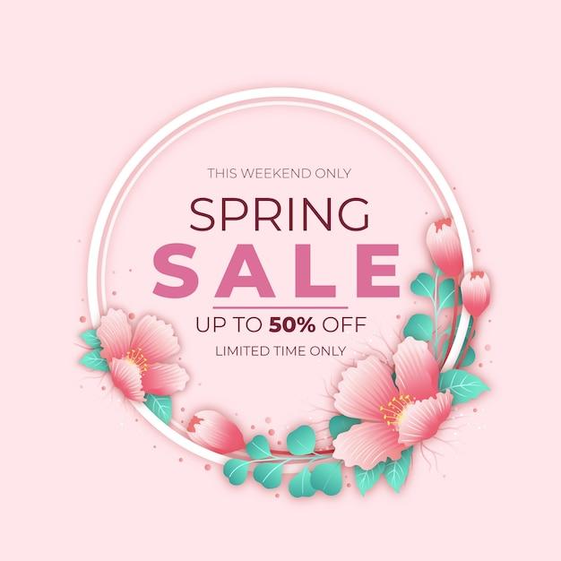 Venta promocional de primavera realista vector gratuito