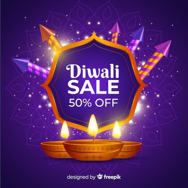 Venta realista de diwali con 50% de descuento vector gratuito