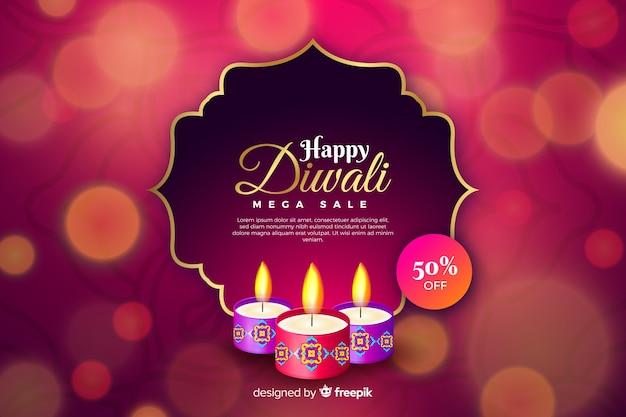 Venta realista de diwali con bokeh vector gratuito