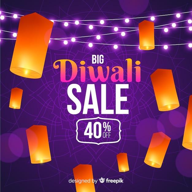 Venta realista de diwali con descuento vector gratuito
