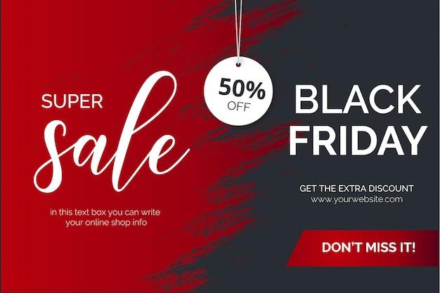 Venta de trazo de pincel negro moderno el viernes super vector gratuito