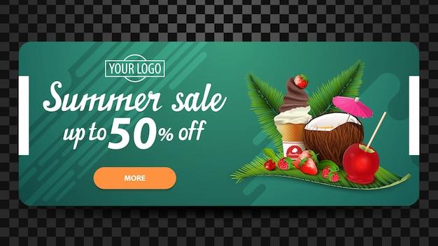 Venta de verano, hasta un 50% de descuento, banner web de descuento para su sitio web Vector Premium