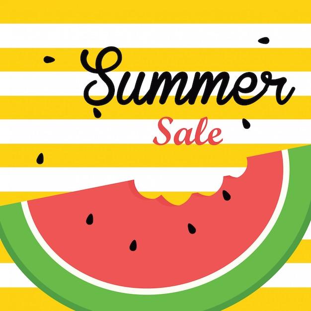 Venta de verano banner ilustración vectorial, rebanada de sandía Vector Premium
