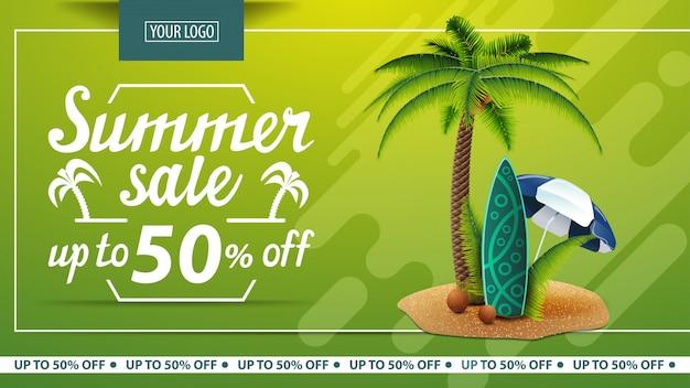 Venta de verano, banner web de descuento para tienda online. Vector Premium