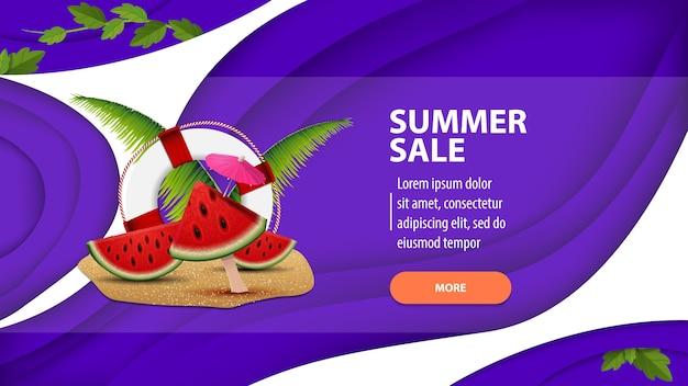 Venta de verano, banner web moderno en estilo de corte de papel para su sitio web Vector Premium