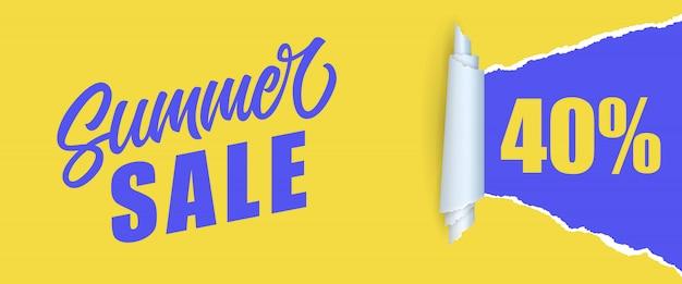Venta de verano cuarenta por ciento de letras. inscripción de compras en colores amarillo y azul vector gratuito