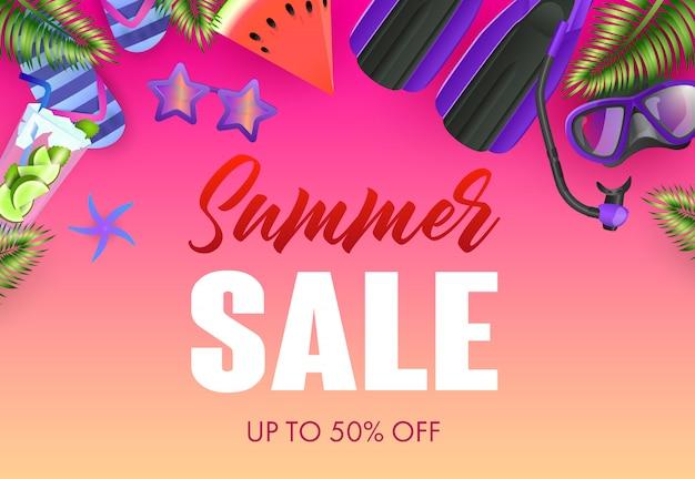 Venta de verano diseño de carteles coloridos. mojito, máscara de buceo. vector gratuito