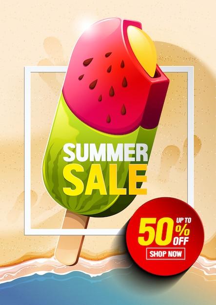 Venta de verano helado vector Vector Premium