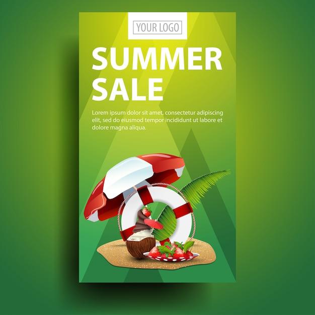 Venta de verano, moderna, elegante plantilla de banner vertical Vector Premium