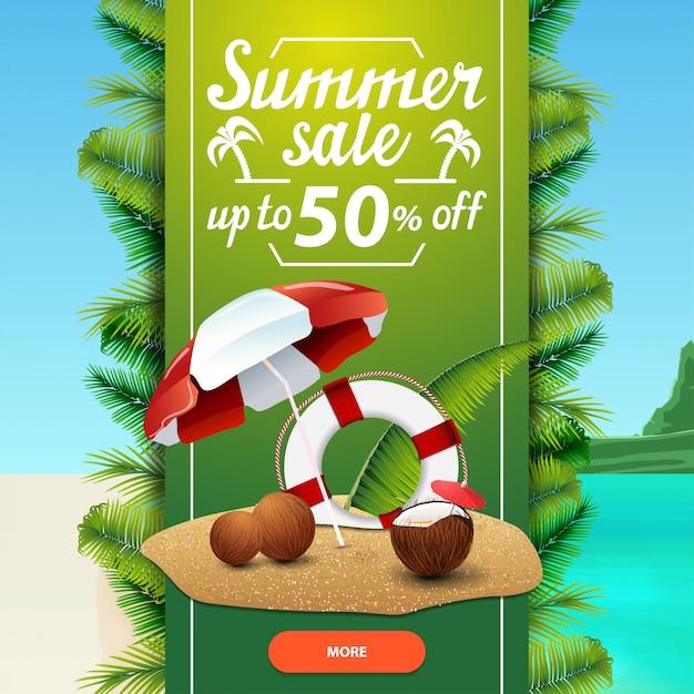 Venta de verano, plantilla de banner web de descuento cuadrado para su negocio Vector Premium