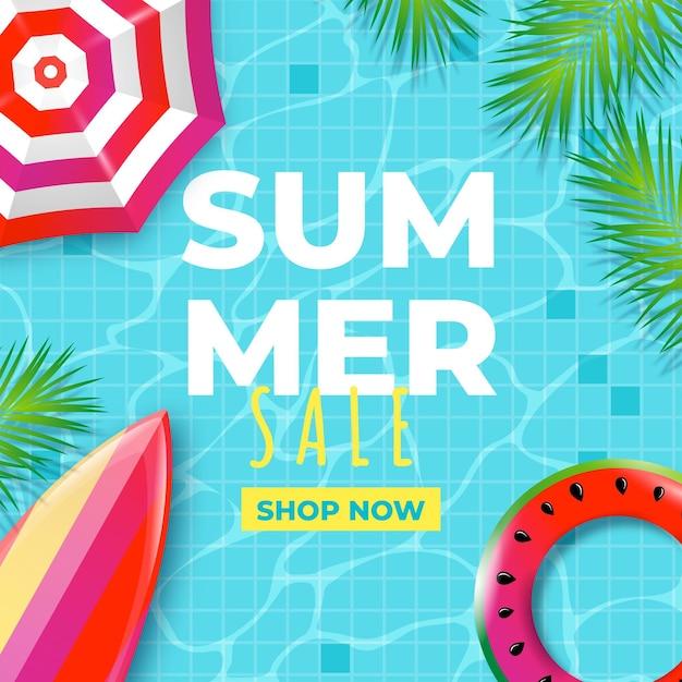 Venta de verano realista con piscina y sombrilla. vector gratuito