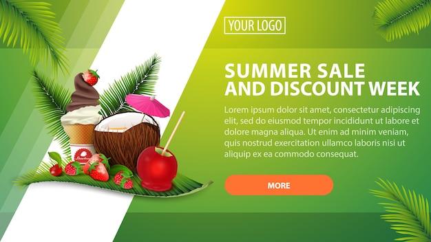 Venta de verano y semana de descuento, banner de descuento horizontal para su sitio web. Vector Premium
