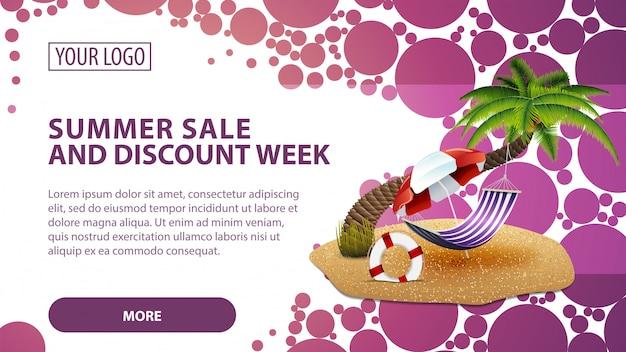 Venta de verano y semana de descuento, banner con palmera y hamaca. Vector Premium