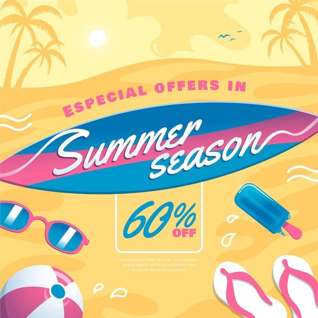 Venta de verano con tabla de surf y playa. vector gratuito