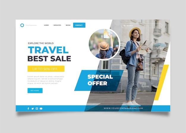 Venta de viajes - concepto de página de destino vector gratuito