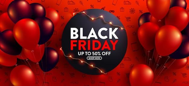 Venta de viernes negro 50% de descuento póster con globos rojos y negros para minoristas Vector Premium