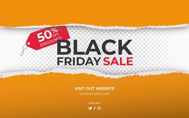 Venta de viernes negro de banner de papel rasgado vector gratuito