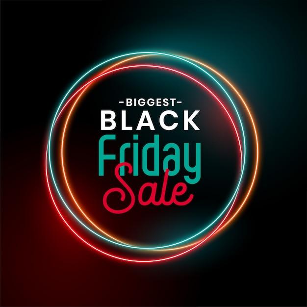Venta de viernes negro brillante neón vector gratuito