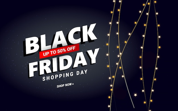 Venta de viernes negro creativo con confeti estrella para carteles, pancartas, folletos, tarjetas. Vector Premium