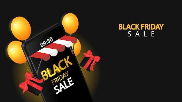 Venta de viernes negro en el móvil con negro Vector Premium