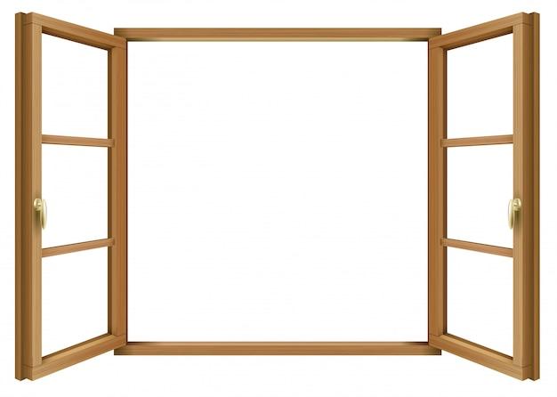 Ventana abierta vintage clásica de madera | Vector Premium