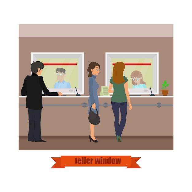 Ventana de cajero de tecnología moderna. empleados de ventas bancarias que trabajan con clientes. Vector Premium