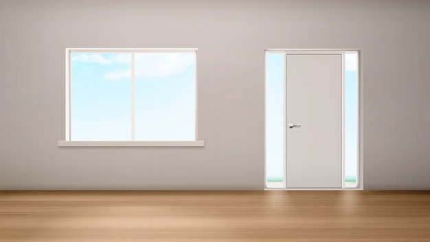 Ventana interior del pasillo y puerta con paneles de vidrio vector gratuito