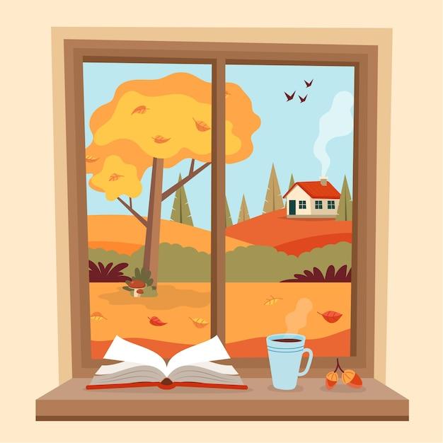 Ventana de otoño con vista rural, un libro y una taza de café en el alféizar. Vector Premium