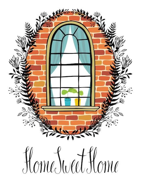 Ventana en una pared de ladrillo con una viñeta floral y escritura caligráfica inicio, dulce hogar vector gratuito
