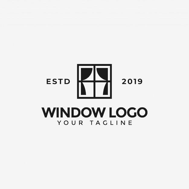 Ventana con plantilla de logotipo de cortina Vector Premium