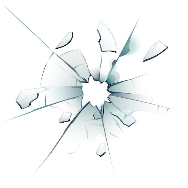 Ventana rota vidrio roto, grietas de agujeros de bala y fragmentos de vidrio de superficie vidriosa rota ilustración aislada realista Vector Premium