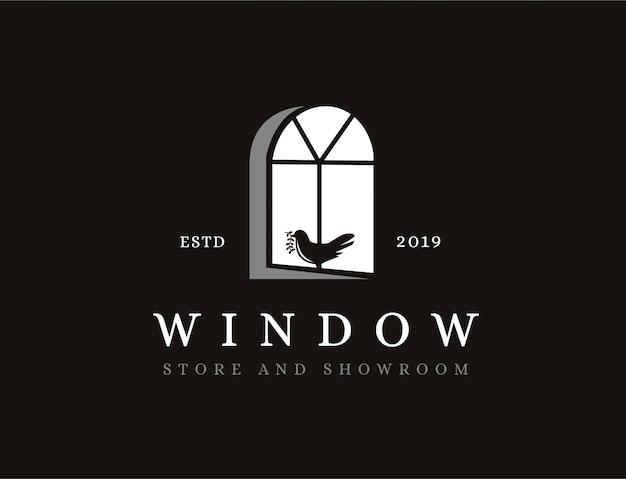 Ventana vintage y logo de pájaro Vector Premium