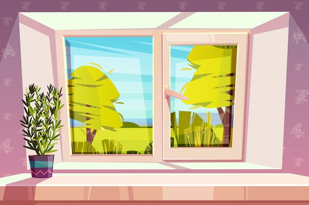 Ventana con vista al parque o prado soleado y planta casera en maceta en la ventana de dibujos animados vector gratuito
