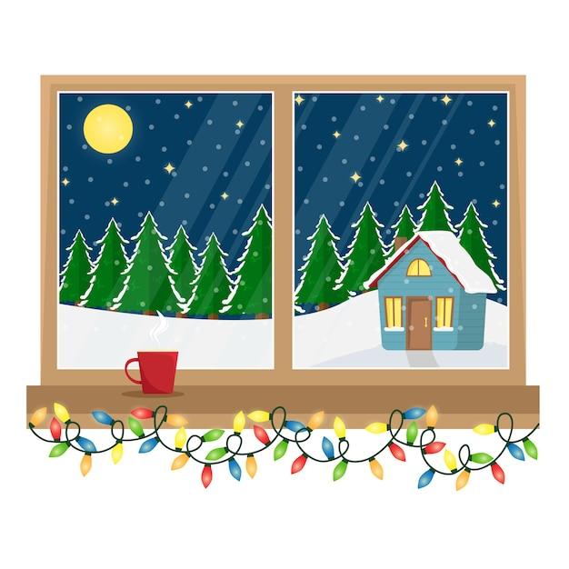 Una ventana con vistas a la casa decorada en el bosque. ventana de navidad con guirnalda. ilustración de dibujos animados Vector Premium