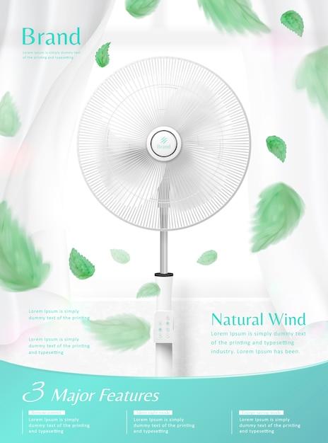 Ventilador de pie moviendo el aire con hojas verdes voladoras. Vector Premium