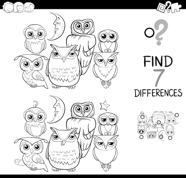 Ver La Diferencia Con Los Búhos Para Colorear Libro Vector