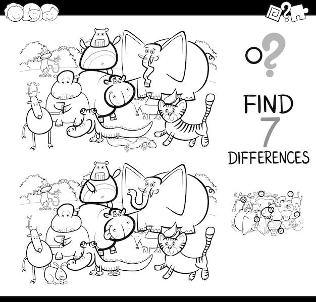 Ver la diferencia con animales para colorear libro   Descargar ...