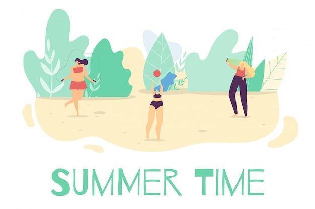 Verano activo tiempo al aire libre plana de dibujos animados banner Vector Premium