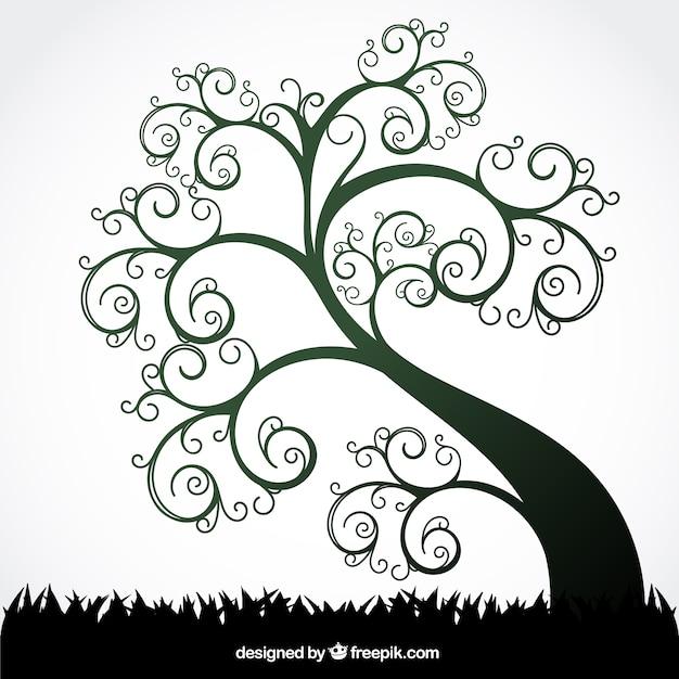 Verano árbol del remolino vector gratuito